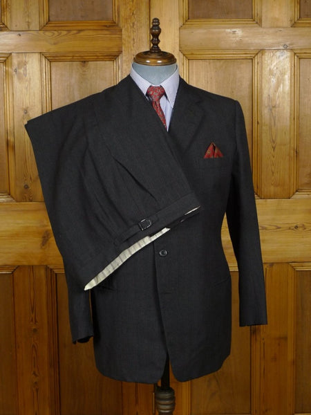 18/1413 vintage 1960s savile row bespoke grey / red check worsted suit 41 regular
