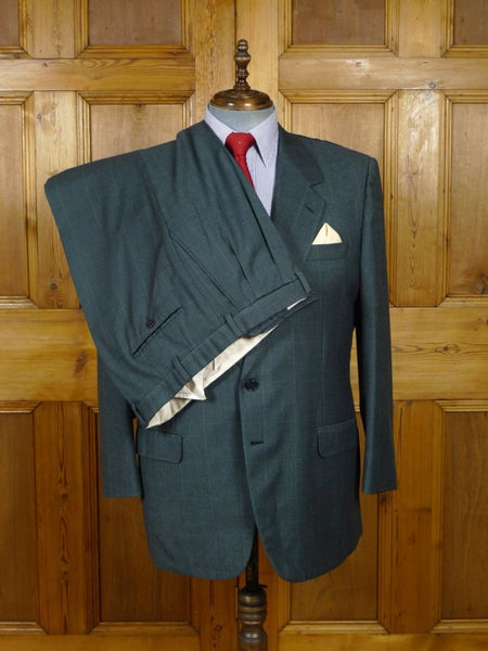 18/1410 brioni blue green check luxury wool suit 45 short (rrp £3500)