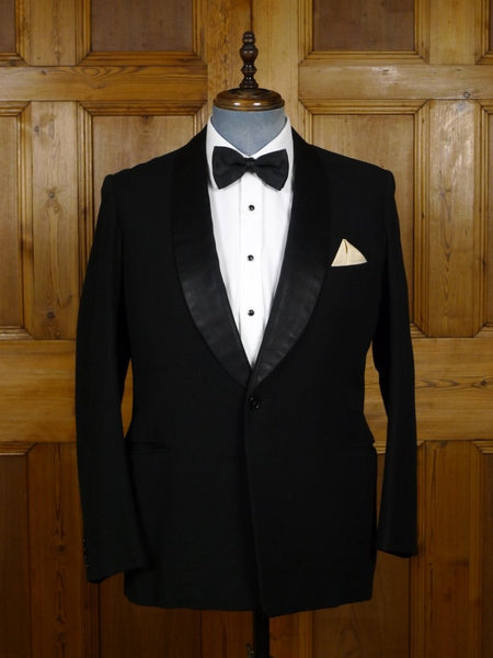 18/1460 vintage 1960s bespoke tailored black barathea / silk shawl dinner jacket 41-42 regular