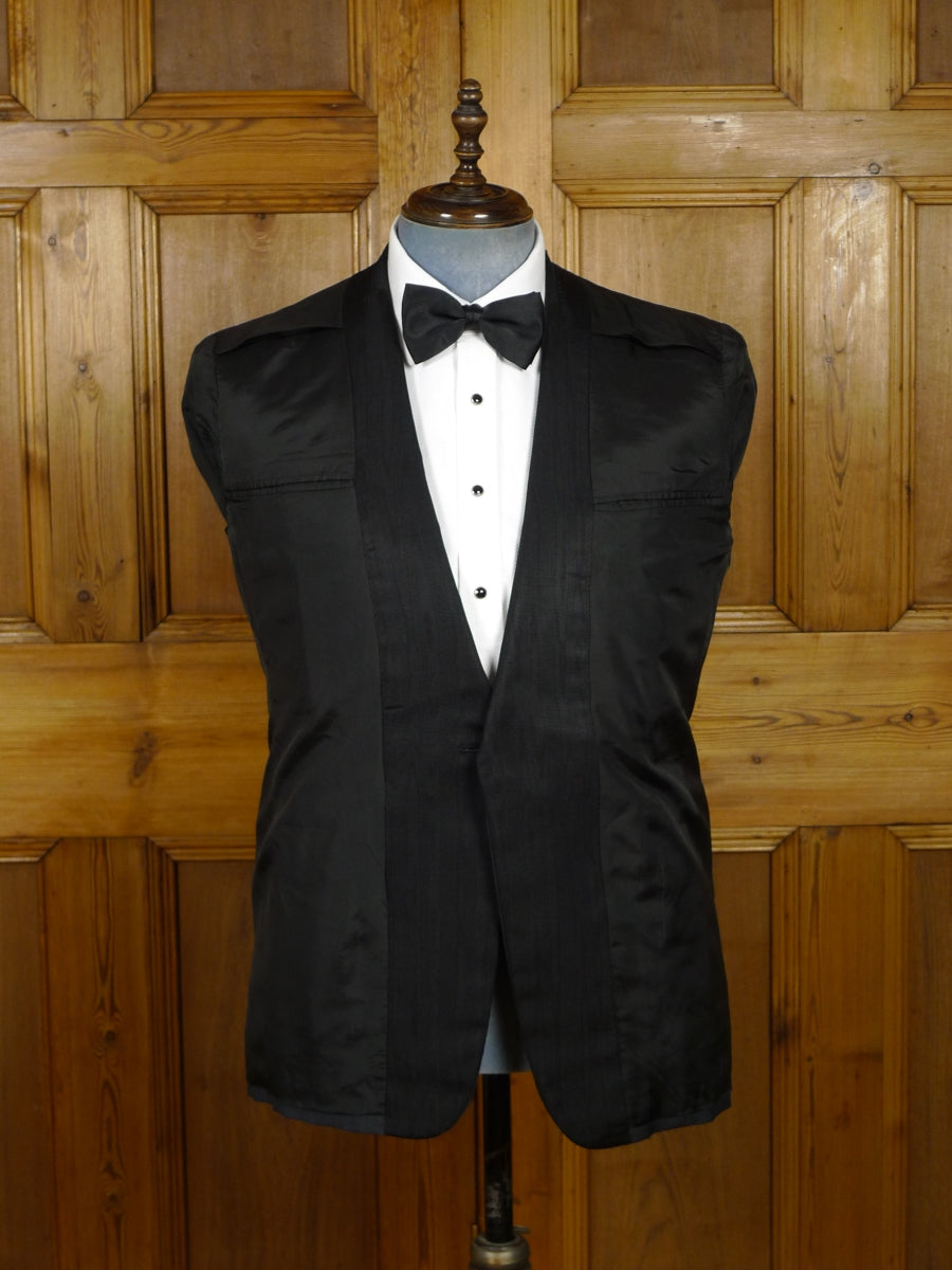18/1451 vintage henry poole savile row bespoke black mohair dinner jacket (some damage) 43 regular
