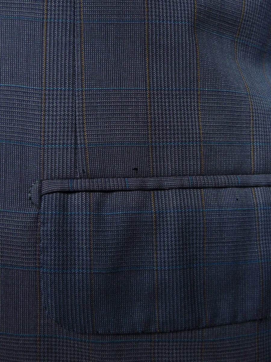 18/1458 brioni luxury wool blue check canvassed suit 46 short