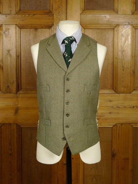18/1425 quality tailored brown / green check country waistcoat for pocket watch 37 regular to long
