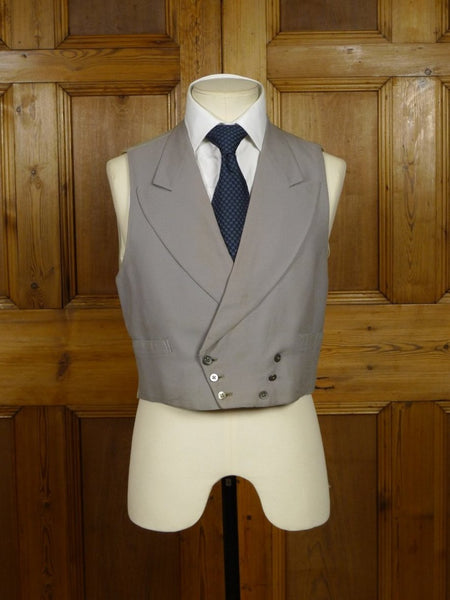 18/1449 vintage 1952 savile row bespoke dove grey worsted d/b morning waistcoat 38 short