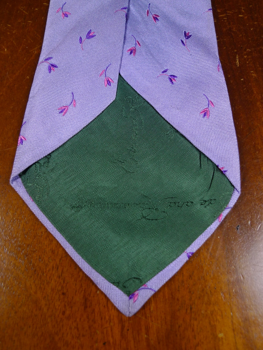 18/1481 ede & ravenscroft lilac purple pink flower motif all silk tie