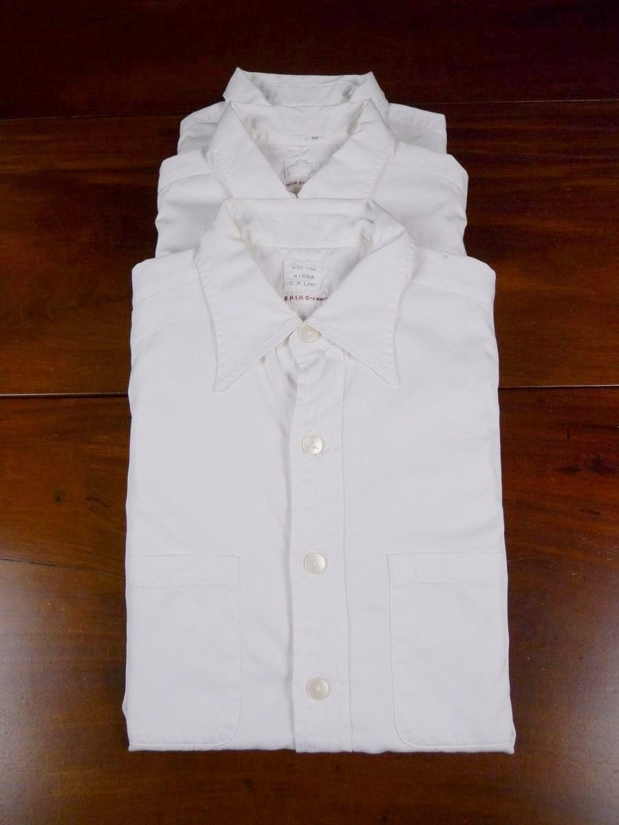 18/1463 batch of 3 royal navy officers issue white cotton short sleeve shirts 15