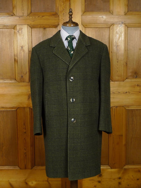18/1518 vintage heavyweight 1960s french tailored green glen check wool overcoat w/ 2-tone linings 44 short