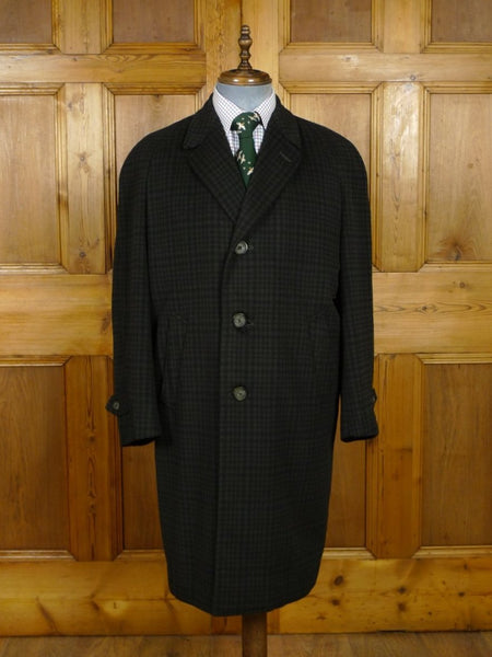 18/1522 rare genuine 1960s vintage oxford street tailored green check sealskin finish crombie wool raglan coat 44