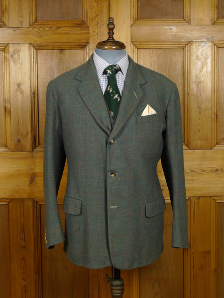 18/1525 wonderful 1963 vintage anderson & sheppard savile row bespoke green / red windowpane check tweed jacket & waistcoat 42 regular