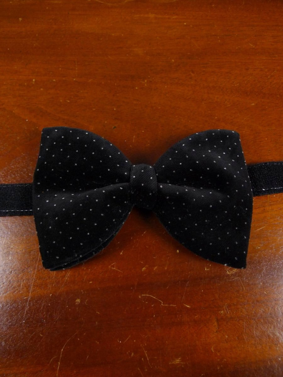 18/1818 black / grey polka dot velvet bow tie 16-17