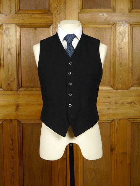18/1529 genuine 1930s vintage black wool twill morning waistcoat for pocket watch 37 short