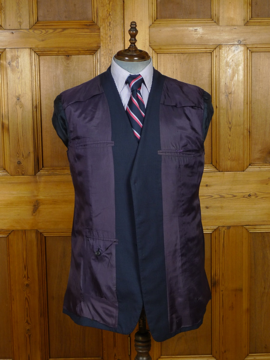 18/1536 vintage redwood & feller mayfair bespoke canvassed blue suit w/ plum linings 44 long