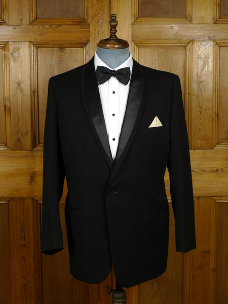 18/1538 superb vintage jackson the tailor 'black label' canvassed black barathea / silk shawl dinner jacket 41-42 regular