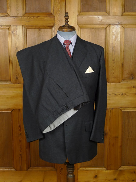 18/1551 superb vintage savile row bespoke grey glen check 3-piece worsted suit 40 regular to long