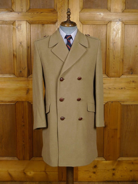 18/1554 vintage  melton wool officers style 'british warm' overcoat 39-40 regular