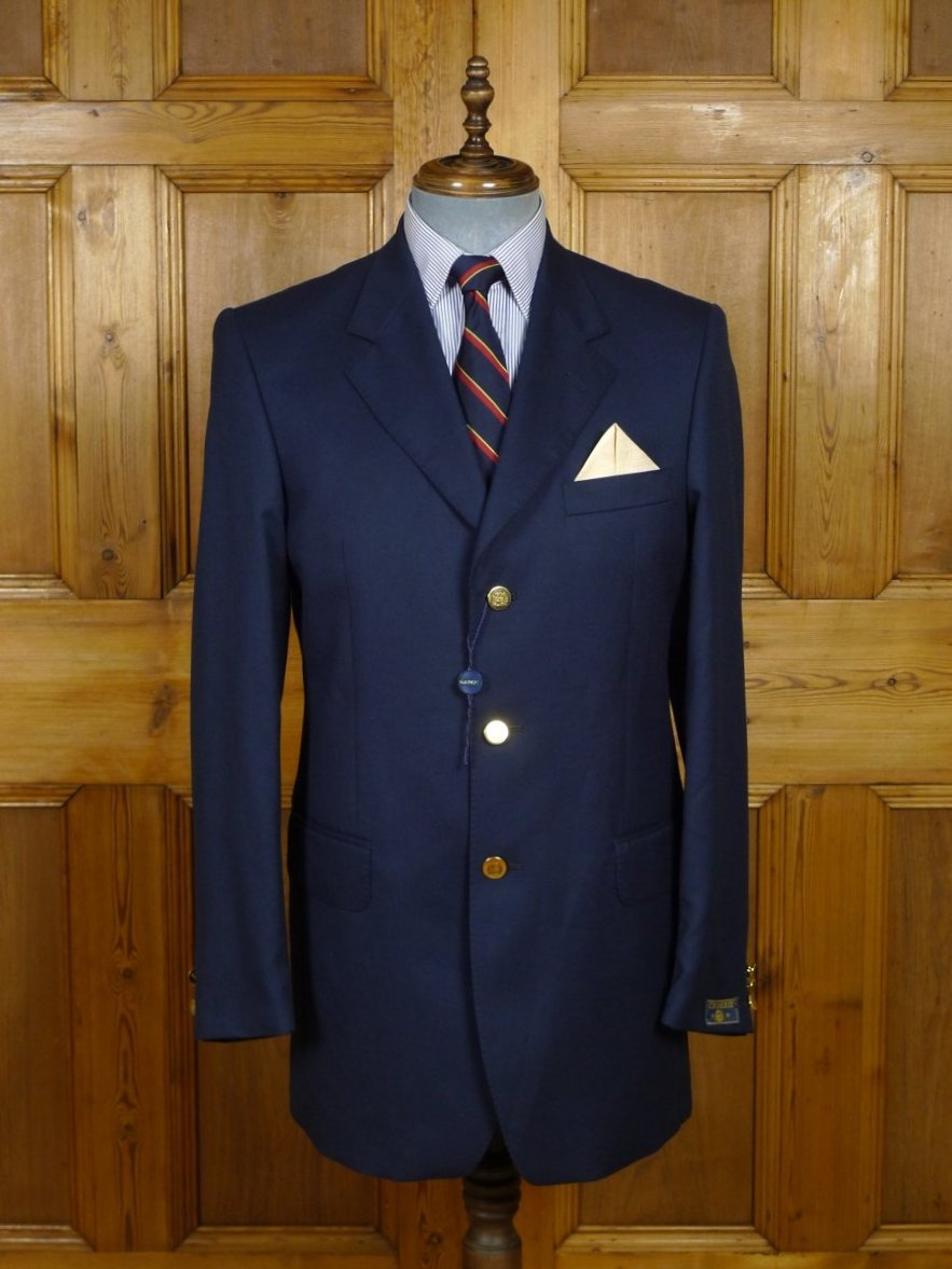 18/1574 new old stock crombie luxury wool silk cashmere navy blue blazer 40 long (rrp £795)