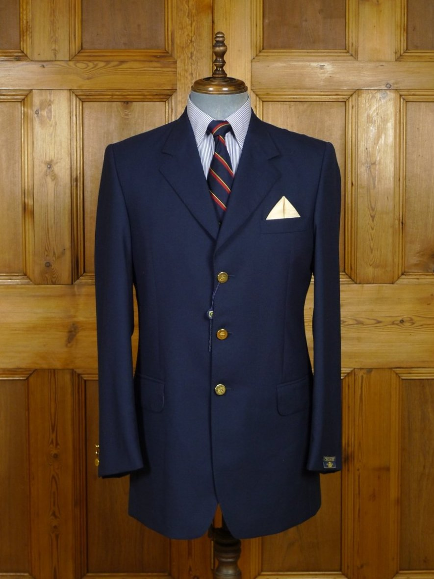 18/1575 new old stock crombie luxury wool silk navy blue blazer 40 long (rrp £795)