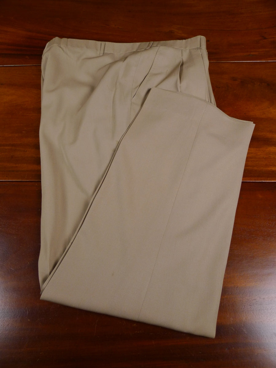 18/1568 vintage 1989 savile row bespoke tan beige worsted wool trouser 39