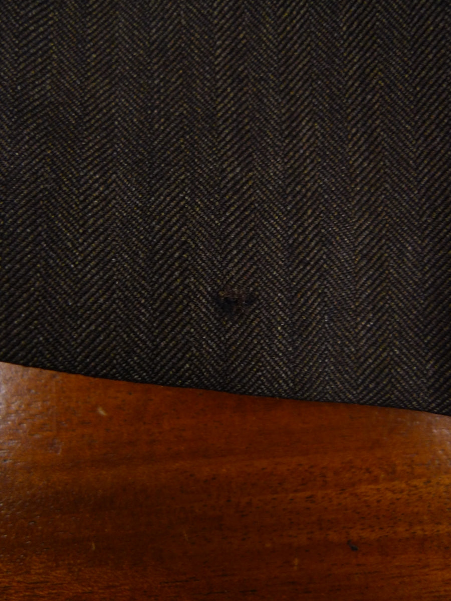 18/1628 quality us tailored brown herringbone wool suit 39 long