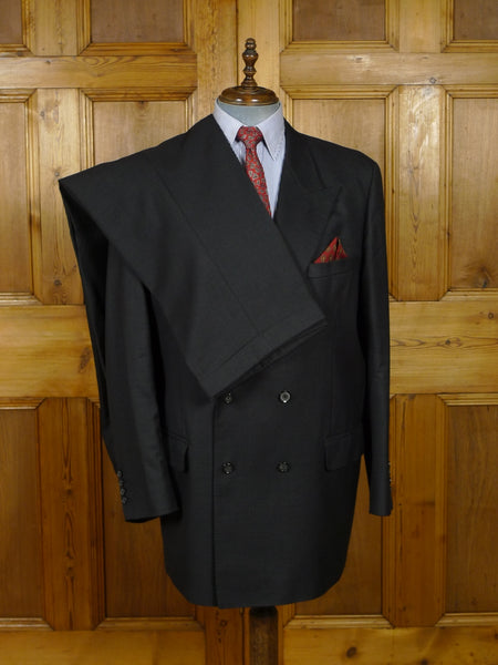 18/1647 far east bespoke tailored charcoal grey worsted d/b suit 50 regular to long