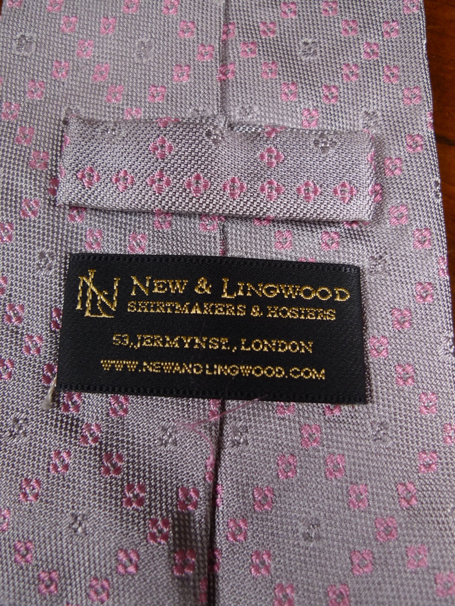 18/1658 new & lingwood pink silver silk tie