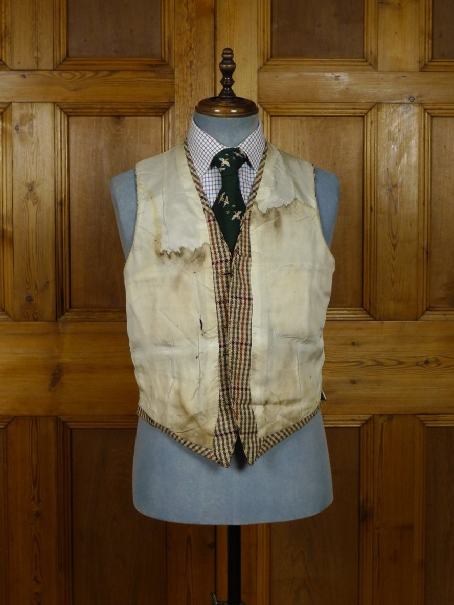 18/1680 vintage 1950s savile row bespoke alsport check tweed jacket and waistcoat 41 long
