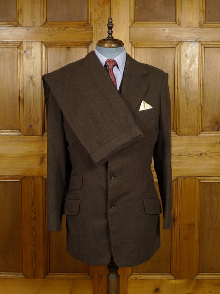18/1678 vintage LONDON bespoke canvassed brown worsted flannel 3-piece suit 40 long