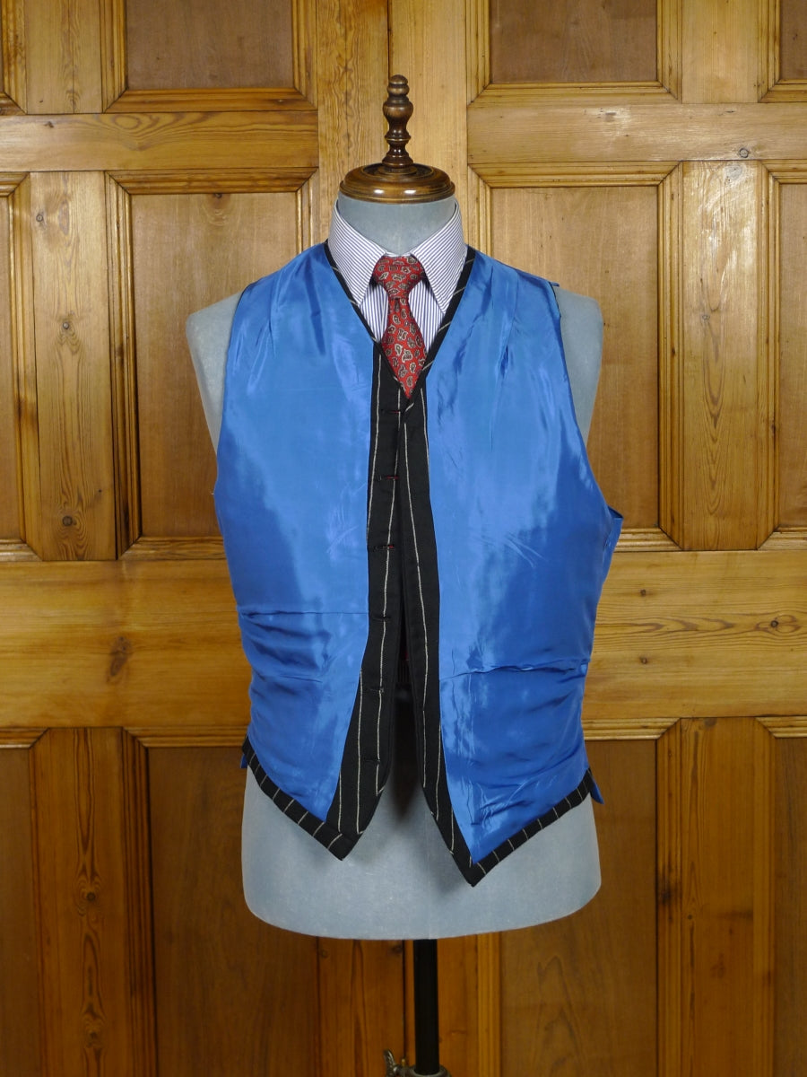 18/1671 vintage tailored black rope-stripe worsted waistcoat w/ blue linings 42-43 regular to long