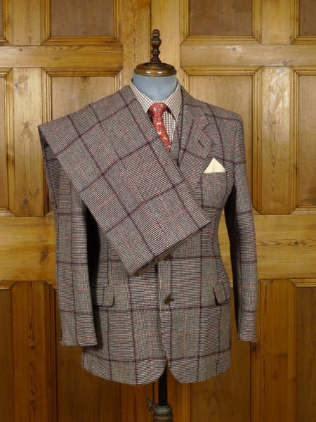 18/1689 wonderful vintage bold check 3-piece tweed suit 40 short to regular