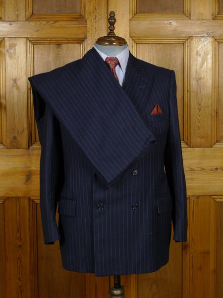 18/1693 vintage edinburgh bespoke canvassed navy blue pin-stripe d/b 3-piece worsted suit 42 short to regular