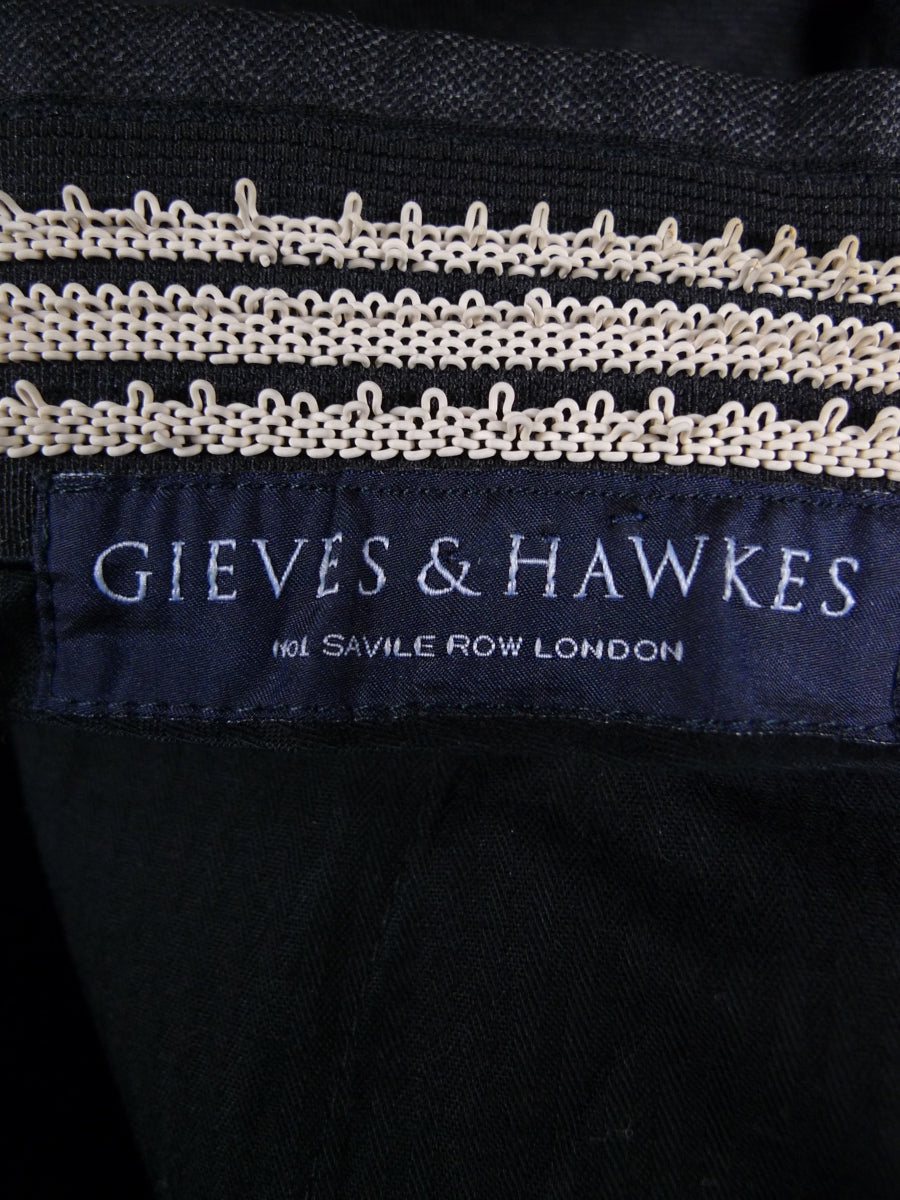 18/1753 near immaculate gieves & hawkes savile row charcoal grey superfine wool trouser 32