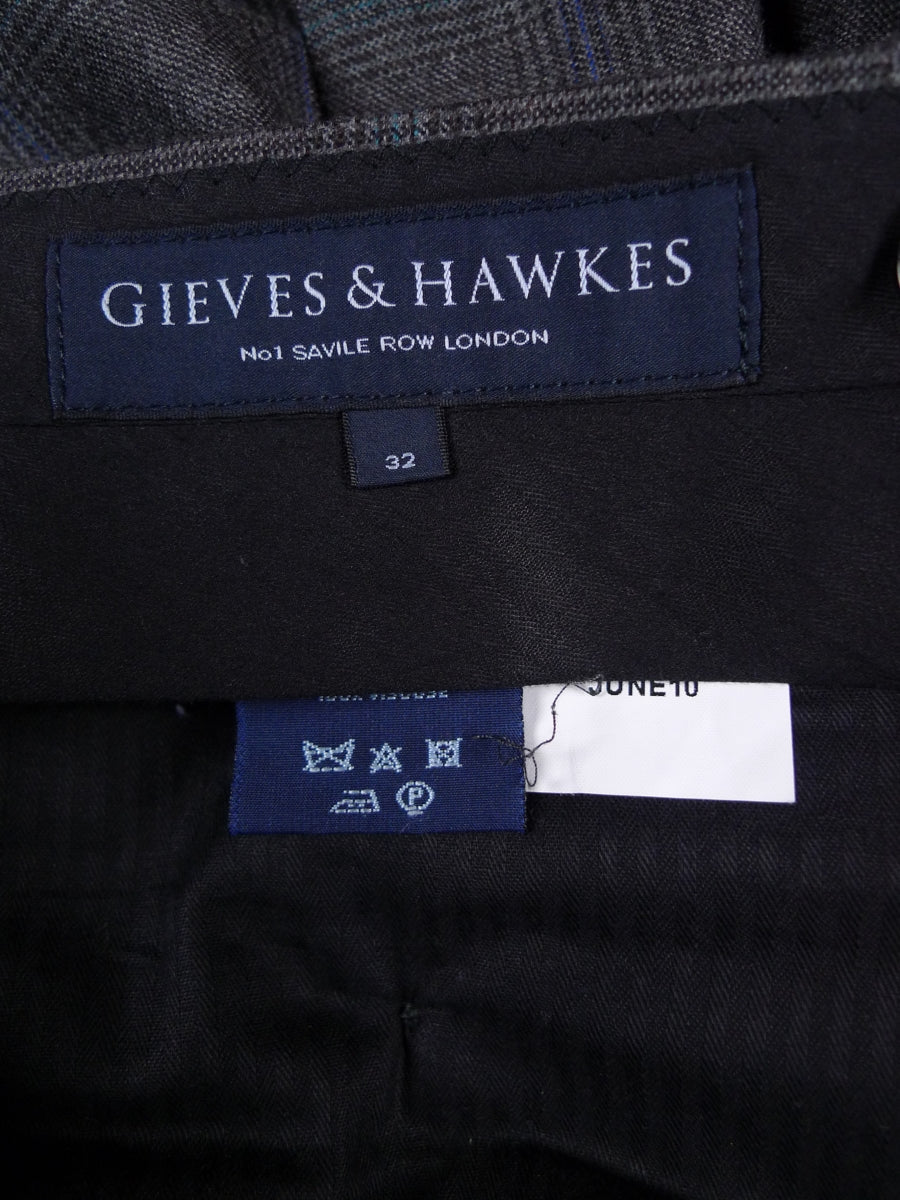 18/1749 immaculate gieves & hawkes savile row grey / turquoise & blue glen check wool trouser 32