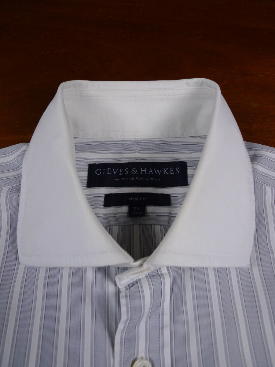 18/1760 gieves & hawkes savile row 'new fit' reverse grey stripe d/cuff cotton shirt 15.5
