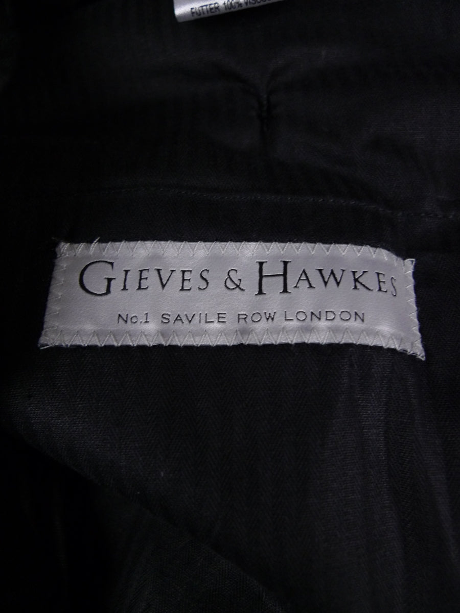 18/1757 immaculate gieves & hawkes savile row 2015 custom tailored blue superfine wool trouser 34
