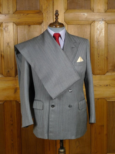 18/1778 delightful vintage edindburgh bespoke tailor canvassed grey herringbone worsted 3-piece d/b suit 42 short