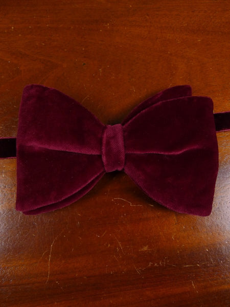 18/1844 vintage burgundy red velvet evening dress bow tie one size