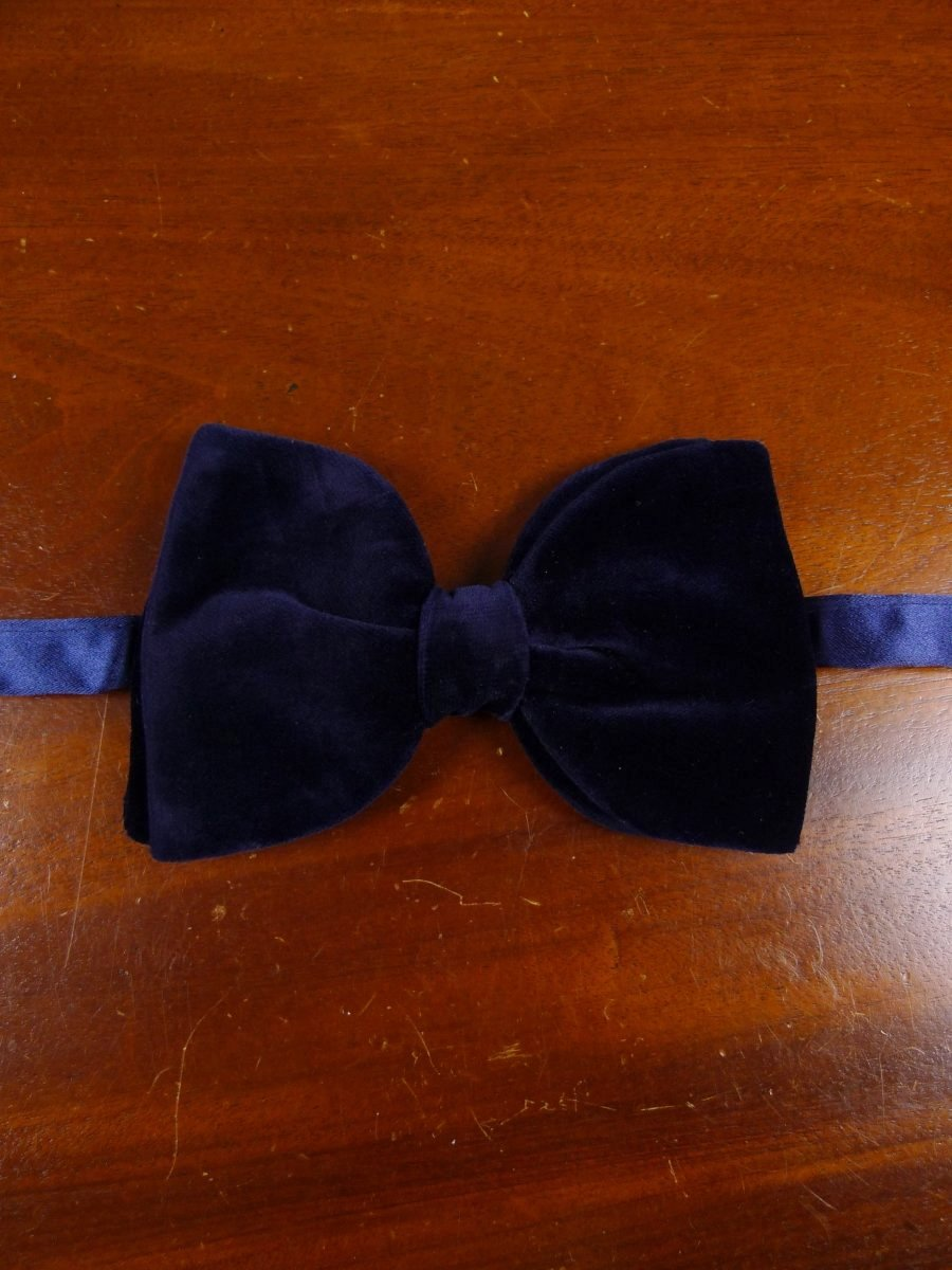 18/1848 vintage blue velvet evening dress bow tie one size