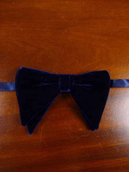 18/1852 vintage blue velvet evening dress bow tie one size