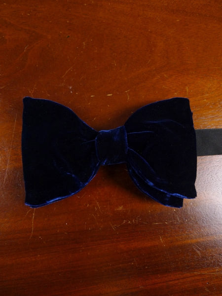 18/1851 vintage blue velvet evening dress bow tie one size