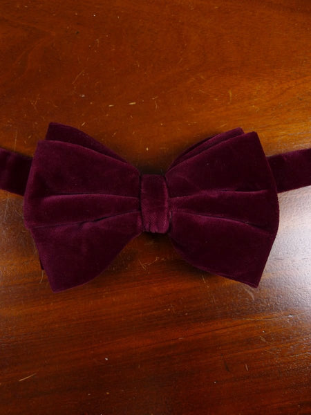 18/1857 vintage burgundy red velvet evening dress bow tie one size