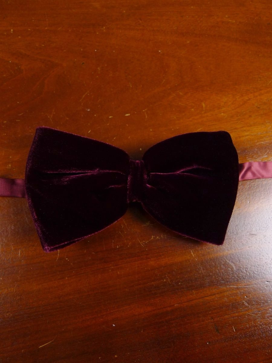 18/1858 vintage burgundy red velvet evening dress bow tie one size