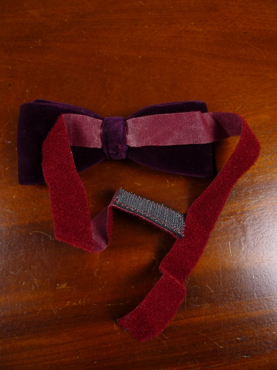 18/1859 vintage burgundy red velvet evening dress bow tie one size