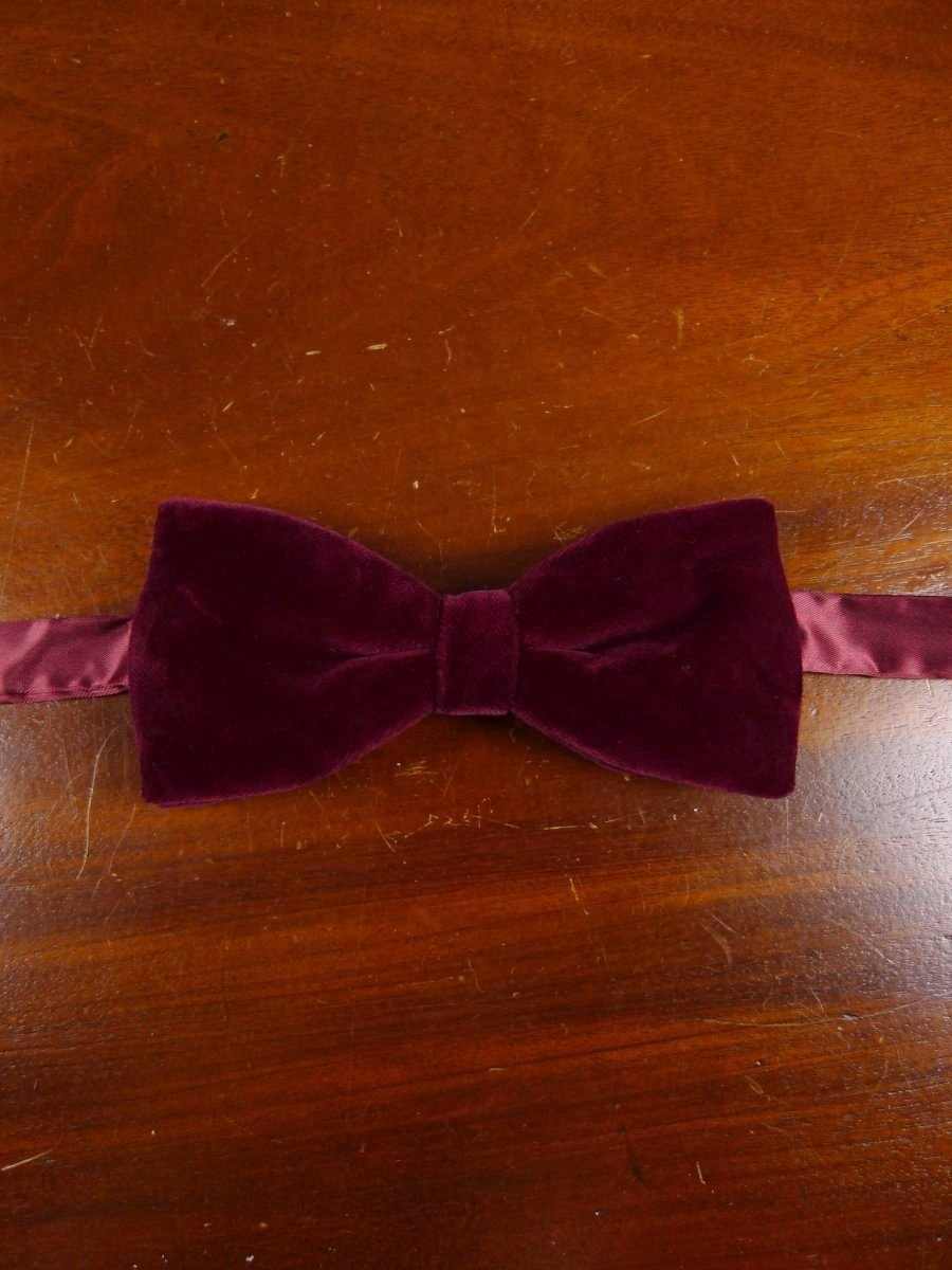 18/1863 vintage burgundy red velvet evening dress bow tie one size