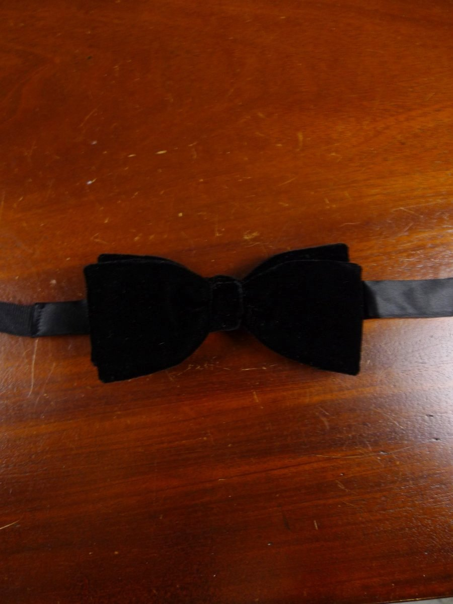 18/1869 vintage black velvet evening dress bow tie one size