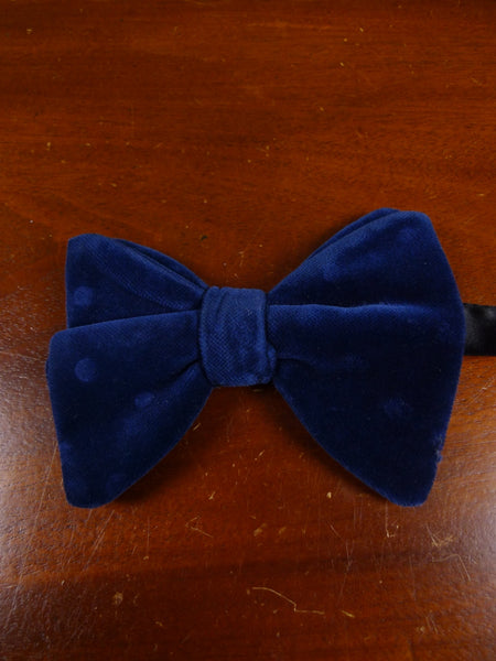 18/1885 vintage blue velvet polka dot evening dress bow tie one size