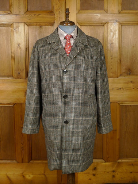 18/1889 quality vintage glen check loden wool coat overcoat 44 short