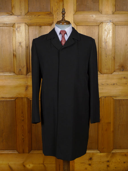 18/1906 immaculate 1960s vintage london boutique black gaberdine raincoat mac 42 short to regular