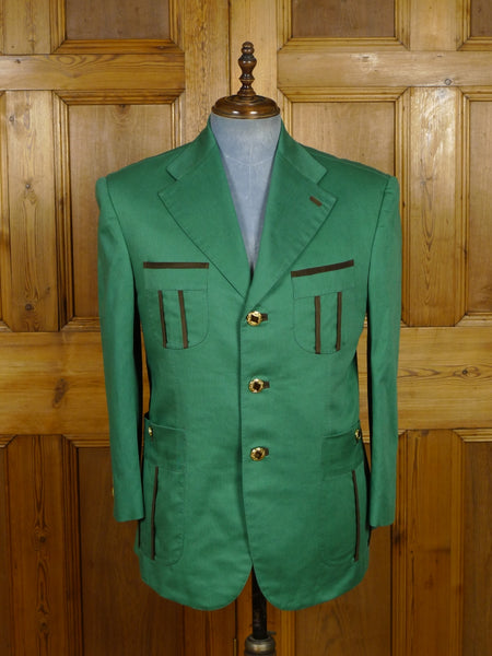 19/0024 SANTARELLI SARTORIA LUXURY green cotton SPORTS JACKET BLAZER w/ suede trims 41-42 SHORT