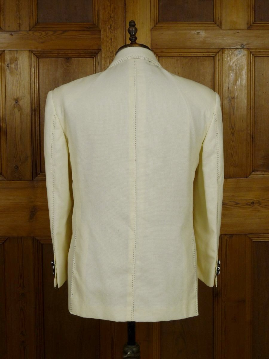19/0090 SANTARELLI SARTORIA LUXURY ivory white virgin wool SPORTS JACKET BLAZER W/ black trims 42-43 SHORT