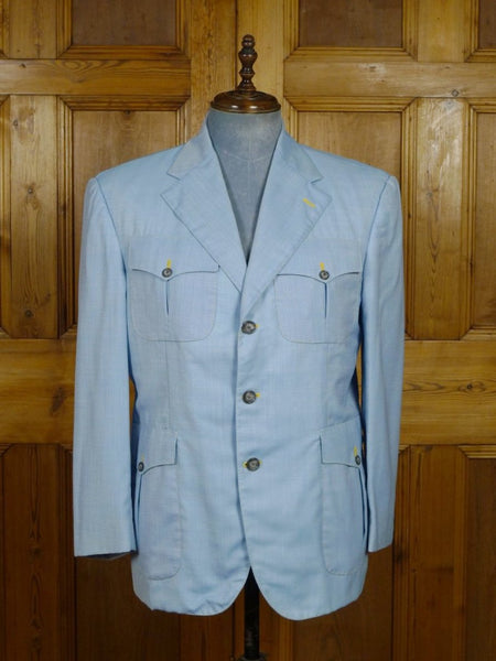 19/0041 SANTARELLI SARTORIA LUXURY zegna lightweight wool & silk pale blue SPORTS JACKET BLAZER  w/ silk trims 43 SHORT