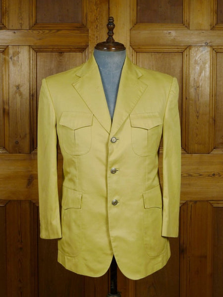 19/0027 SANTARELLI SARTORIA LUXURY beige cotton SPORTS JACKET BLAZER w/ fancy linings 41-42 SHORT